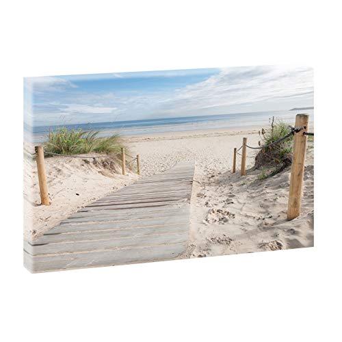 Querfarben Bild auf Leinwand mit Landschaftsmotiv Holzsteg zum Meer | 65 x 100 cm, Farbig, Wandbild, Leinwandbild mit Kunstdruck, Nordseebild mit Strandmotiv auf Holzrahmen gespannt, 65x100 cm