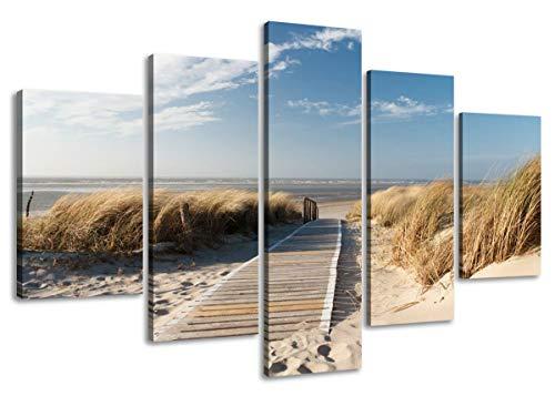 Visario Leinwandbilder 5517 Bilder auf Leinwand 160 x 80 cm Ostsee Nordsee 5-teilig, natur
