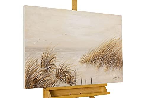 KunstLoft® Acryl Gemälde 'Tag am Strand' 90x60cm | original handgemalte Leinwand Bilder XXL | Strand Meer Dünen Wasser | Wandbild Acrylbild Moderne Kunst einteilig mit Rahmen