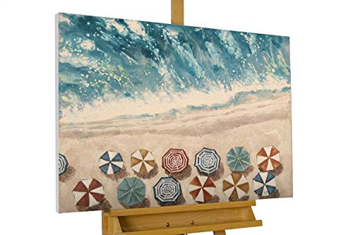 KunstLoft® Acryl Gemälde 'Erholung am Meer' 100x75cm | original handgemalte Leinwand Bilder XXL | Strände Blau Bunt | Wandbild Acrylbild Moderne Kunst einteilig mit Rahmen