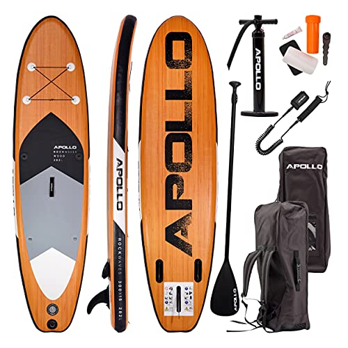 Apollo SUP Board, iSUP Komplettset, Stand-up-Paddling Set, aufblasbares Board, inkl. Paddel, Pumpe und Reparaturset, für Anfänger und Profis