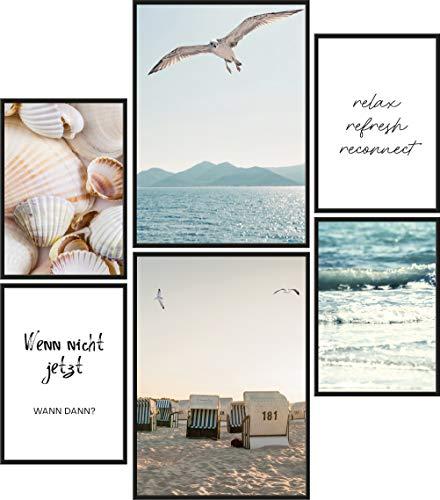 Papierschmiede® Mood-Poster Set Strand und Meer | Bilder als Wanddeko | Wohnzimmer & Schlafzimmer | 2X DIN A4 und 4X DIN A5 | Wasser Möwen Muscheln - ohne Rahmen