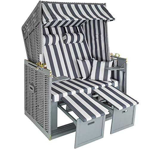 tectake 800805 Strandkorb Ostsee 2-Sitzer, 4-Fach verstellbare Rückenlehne, Volllieger mit Fußbänkchen und Seitentische, inkl. Schutzhülle + Kissen (Grau Weiß   Nr. 403907)