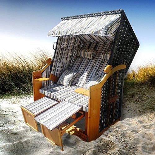 BRAST Strandkorb Deluxe 2-Sitzer XXL für 2 Personen 120cm breit mehrere Designs incl. Abdeckhaube Farbe Grau/Blau/Olive gestreift