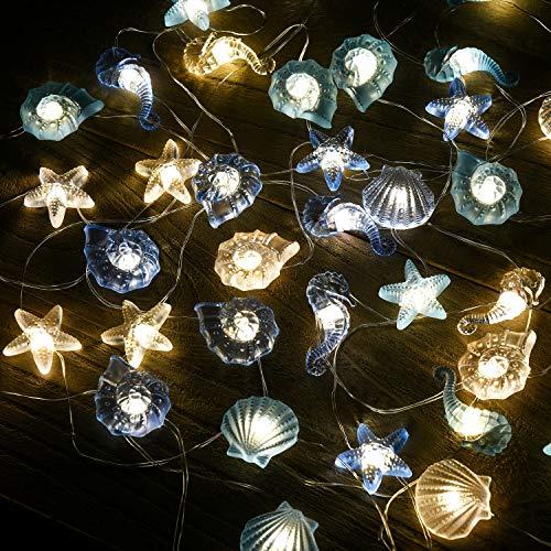 Led lichterkette Innen Außen licht Lichterketten Beleuchtung Batterie Muschel Seepferdchen Seestern Maritime Strand Vasen Tisch Dekoration Garten Bad Badezimmer Schlafzimmer Hochzeit Party Deko